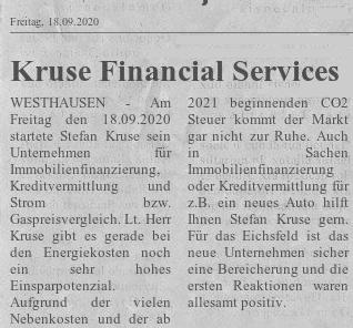 Zeitungsartikel Kruse Financial Services
